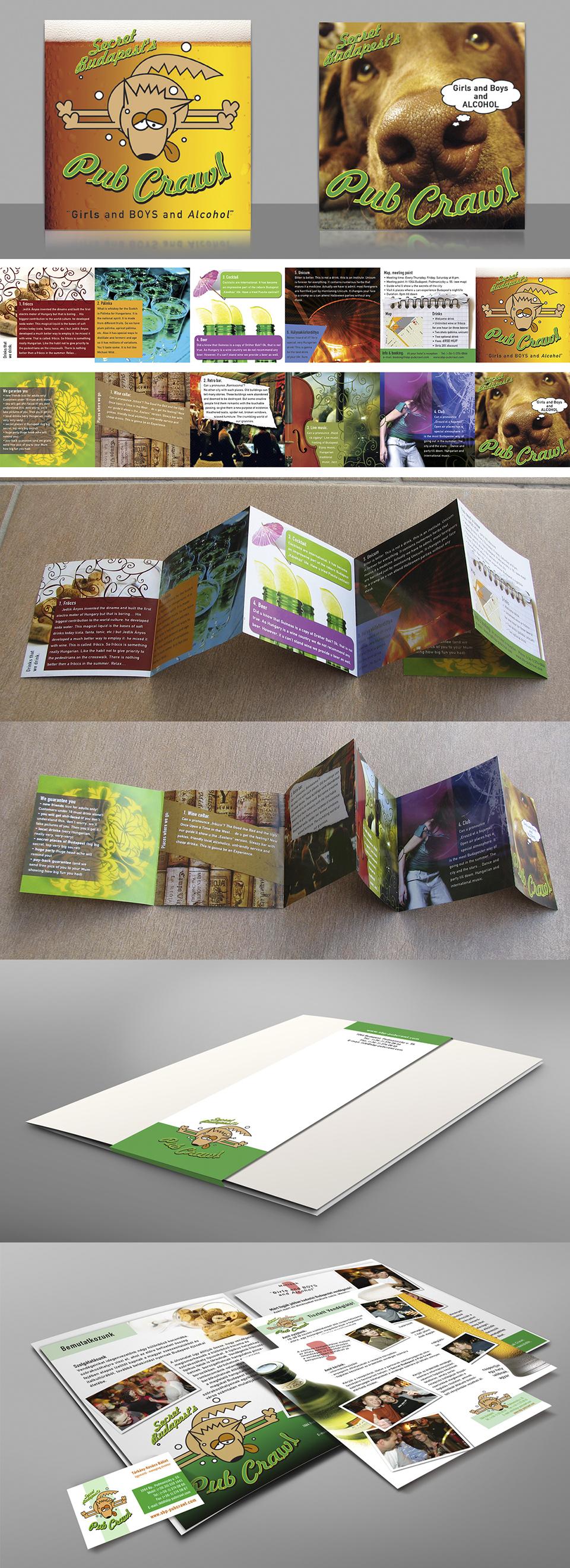 PubCrawl arculat és print anyagok